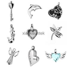 Stainless Steel Crystal Heart Pet Cremation Urn Ash Pendant for Necklace Chain