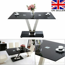Chrome 'V' Shape Black Gloss Glass Dining Table and 4 Chairs Kitchen Furniture