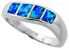 Women 925 Sterling Silver Rhodium Plated, Simulated Opal Inlay Wave Ring 7mm