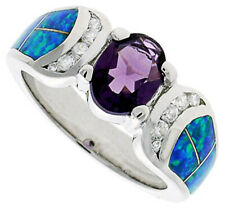 Women Silver Rhodium Plated Opal Inlay Ring Oval Shape Violet Purple 9mm