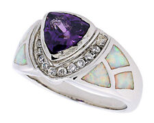 Women Sterling Silver Rhodium Plated Opal Inlay Ring Violet Purple 13mm