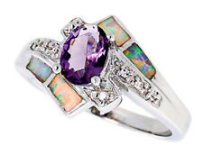 Women Silver Rhodium Plated Opal Inlay Ring Oval Shape Violet Purple 13mm