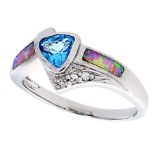 Fine Women Silver Rhodium Plated Pink Simulated Opal Light Blue CZ Ring 11mm