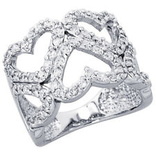 Fine Women 925 Sterling Silver Rhodium Plated, Five Heart Cut Out Ring