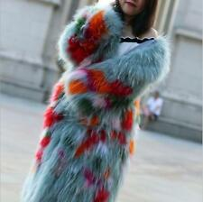 womens exquisite racoon fur coat long  ladys clothing woven raccoon hair parka