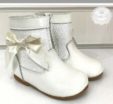 GIRLS COUCHE TOT DESIGNER LEATHER GLITTER BOW JILLY BOOTS BNIB
