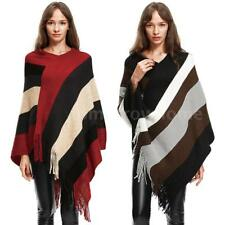 Winter Women Warm Striped Tassels Knitted Sweater Cape Shawl Poncho Coat B0A7