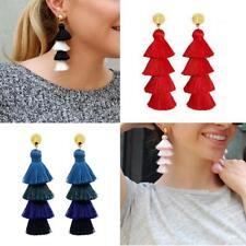 Fashion Tassel Earrings Multi Layered Gold Plated Jewelry for Women Girls
