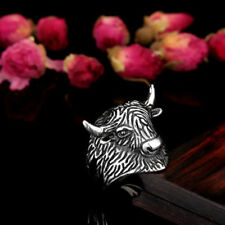 316L Stainless Steel Yak Head Fashion Mens Womens Jewelry Ring Size 7-13