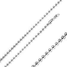 Men Women 5mm Sterling Silver Italian Chain Necklace High Polished Bead Chain