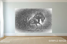 Black Horse Pencil CANVAS PRINT FRAMED or ROLLED choose size A2,A1,A0