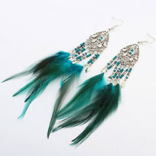 Fashion exaggerated retro beads feathers tassel water droplets long earrings