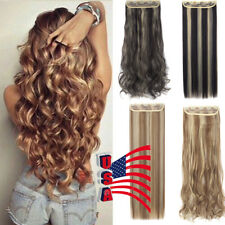 "Long 24-30"" One Piece 5 Clips Clip on Synthetic Long Wavy Human Hair Extensions"