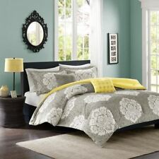 Twin XL Full Queen King Bed Bag Gray Grey Yellow White Damask 5 pc Comforter Set