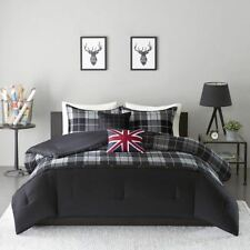 NEW Twin XL Full Queen Bed Black Gray Plaid Union Jack Flag 5 pc Comforter Set