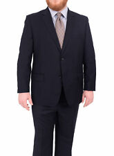 Mens Portly Solid Navy Blue Two Button Super 140's Wool Suit