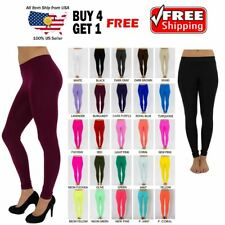 "WOMEN SEAMLESS ONE SIZE OPAQUE 32"" LENGTH CAPRI LEGGINGS JEGGINGS YOGA PANTS"