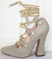 VIVIENNE WESTWOOD Grey Leather Rope Ankle Wrap Shoes 37 38 or 40