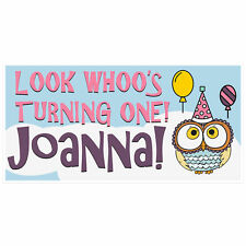 Look Whoos Turning Owl Birthday Banner
