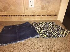 Lot of 2 Girls Skirts Size 14 Justice and Old Navy Gently Used Denim and Cheetah