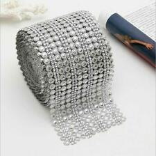 Diamond Mesh Silver Wrap Sparkle Rhinestone Crystal Sunflower Ribbon Party Decor