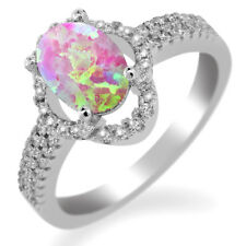 1.64 Ct Oval Cabochon Pink Simulated Opal 925 Sterling Silver Ring