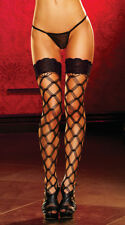 One Size Fits Most Womens Pink Lace Top Large Net Pattern Stockings, Sexy