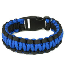 Deluxe Thin Blue Line Paracord Survival Braided Bracelet - Free Shipping