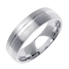Men 6mm 14K White Gold Comfort Fit Wedding Ring Band / Free Gift Box
