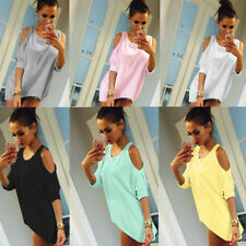 Blouse Top Fashion Casual Womens Ladies Summer Shirt Off Shoulder Loose 1 pcs