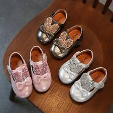 Baby Girl's Leather Ringstones Fashion Rabbit Ear Bow Non-slip Walking Shoes New