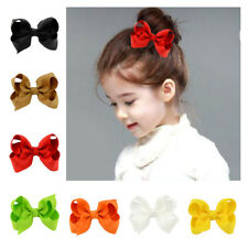 10Pcs Grosgrain Alligator Ribbon Girls Baby Clip Princess Kid Hair Bows Hairpin