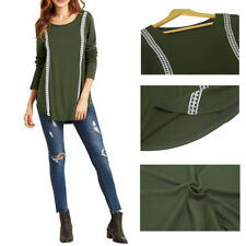 New Lace Stitching Fashion Women Long Sleeved Shirt Loose T-Shirt Solid Color