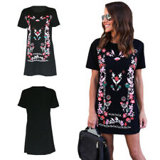 Crew Neck Printed T-Shirt Loose Mini Dress Summer Long Tops Womens Hot