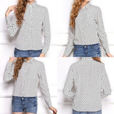 Collar Long Stand Point Vintage New Shirts Fashion Casual OL Elegant Wave Sleeve
