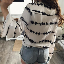 Casual Bandage Blouse  Stripe Printed Tops  Women  Blouse Loose Long Sleeve