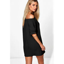 New Womens Shoulder Bardot Button Ladies Off The Eveing Shirt Dress Top
