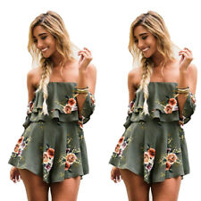 Holiday Playsuit Romper Ladies Printed shorts Jumpsuit Summer Beach Dress Womens