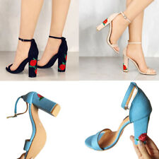 1 Pair New Ankle Strap Women Sandals Embroider High Heels Open Toe Sandal