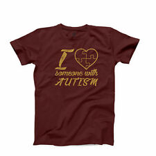 Autism Awareness T Shirt Puzzle I Love Someone with Autism Mom Child Graphic Tee