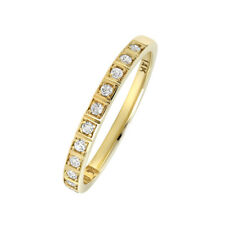 Women 2mm 14K Gold Wedding Band 0.17cttw Diamond Stackable Half Eternity Ring