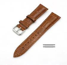 Light Brown Croco Genuine Leather Replacement Watch Band Strap Steel Buckle