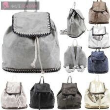 NEW LADIES DESIGNERS STYLE FAUX LEATHER CHAIN TRIM DRAWSTRING BACKPACK