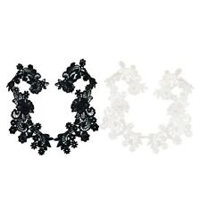 1 Pair Fabric Embroidered Lace Trim Sewing Applique Flower Motif DIY Dress Decor