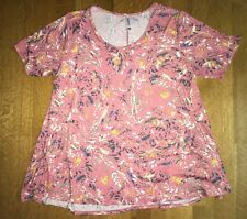 LuLaRoe PERFECT T SHIRT Size 2XL Rose Pink & Multi-Color Swatches NWOT