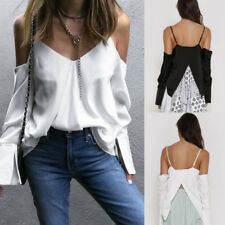 Fashion Womens Casual Long Sleeve V-Neck Blouse Sexy Strap Backless Shirt Tops