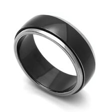 Men Women 8MM Comfort Fit Titanium Wedding Band Beveled Edges Two Tone Ring