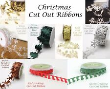 May Arts ~ Cut-Out Satin Christmas Ribbon ~ Snowflakes Reindeer Bows Trees etc
