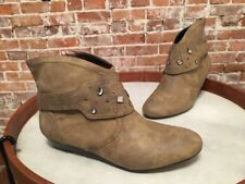 Libby Edelman Henson Taupe Studded Removable Harness Ankle Boot NEW