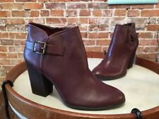 Libby Edelman Claudia Burgundy Buckle Heeled Ankle Boot NEW